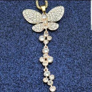 Betsey Johnson Crystal Butterfly Pendant Necklace